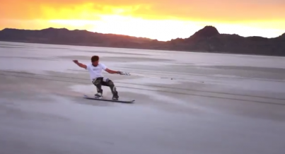 'Salt boarding' on the Utah Salt Flats