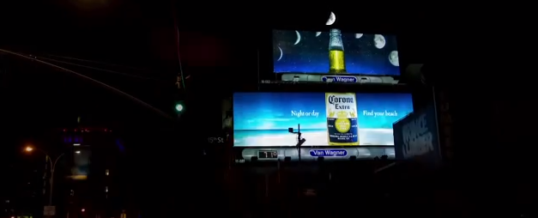 Incorporating the rising moon into a billboard