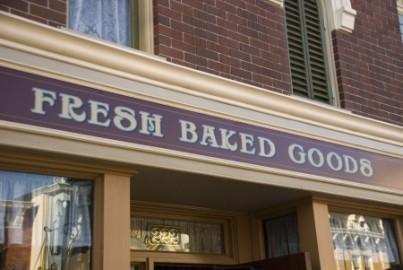 fresh baked goods display signage